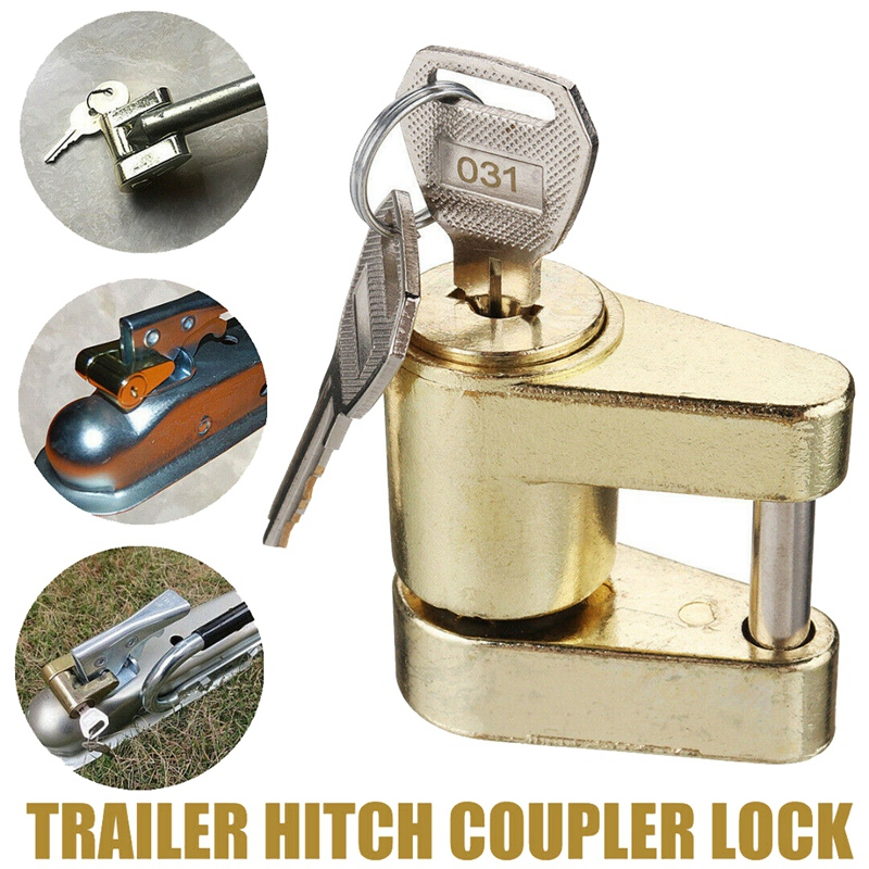 Golden Yellow Trailer Hitch Coupler Lock, Dia 1/4 Inch, 3/4 Inch Span for Tow Boat RV Truck Cars Coupler enlarge