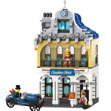 City Series Street View Sunshine Hotel Set With Bubble Car Mini Figures DIY Educational Building Blocks Toys For Children Gifts