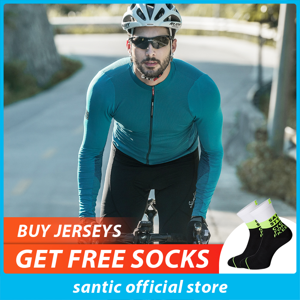 Santic Mens Long Sleeve Cycling Jerseys Fit Comfortable Sun-protective Road Bike MTB Top Jersey Spring Autumn Jerseys WM8C01100