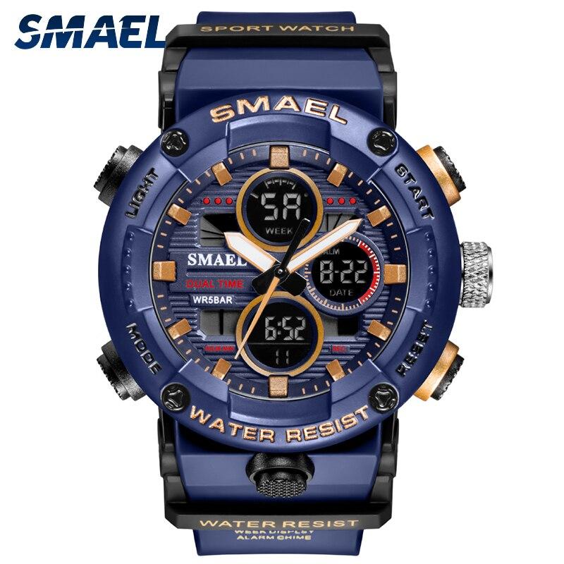 SMAEL Fashion Sport Watches Men Oversized Waterproof 5Bar LED Alarm Clock Man Digital Watch 2021 Modern Military Wristwatch 8038