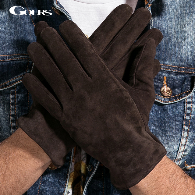 Gours New Winter Long Genuine Leather Gloves Men Suede Black Warm Touch Screen Gloves Brand Goatskin Mittens Luvas GSM023