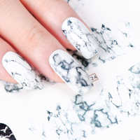 1PCS Weiß Schwarz Gradienten Marmor Nagel Kunst Aufkleber Wasser Transfer Aufkleber Wasserzeichen Slider Maniküre Full Wrap Werkzeug Decor JIBN624