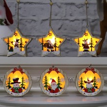 Christmas Tree Ornament Wooden Glowing Classic Scene LED Lights Pendant Gift 2019 Decoration 1PC