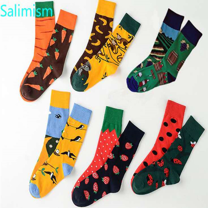 New Unisex Socks Left Right Different Monkey Banana Dog Music Cat Onion Juice Bear Noodle Harajuku Men Socks Women Long Socks
