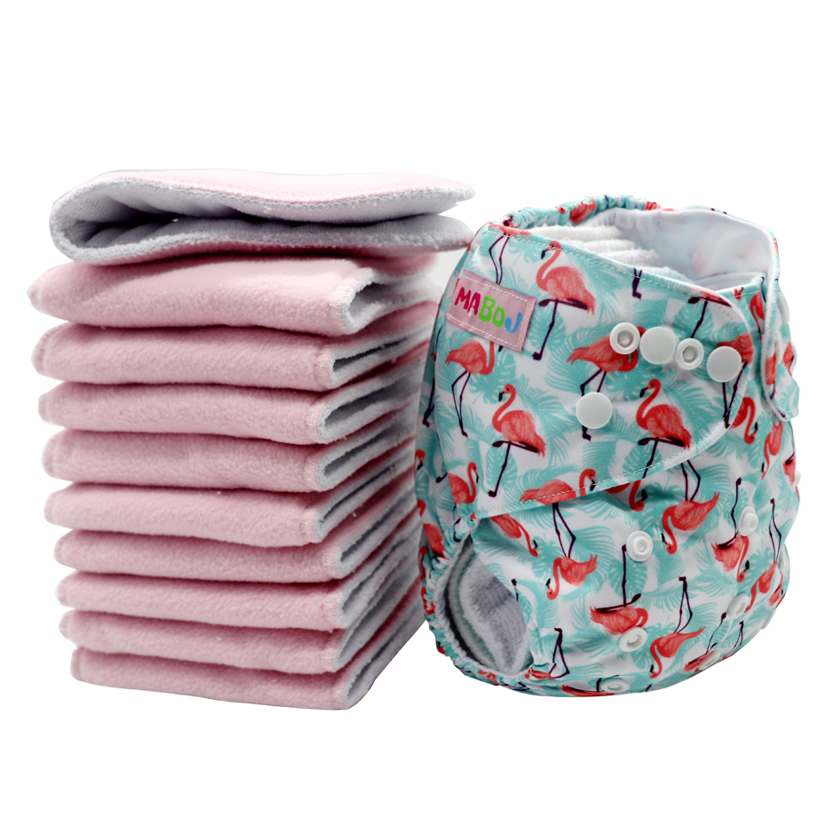 MABOJ Reusable Diapers Insert 10pcs Eco-friendly Diaper Washable Diaper Insert Pocket Nappy Changing Liners 4 Layer New 2020 Hot