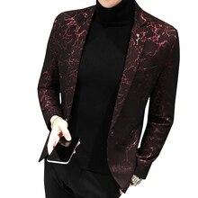 Masculino impresso negócios casual blazer fino novo vento vermelho azul preto 5xl elegante festa de casamento à moda blazers para homem terno jaqueta