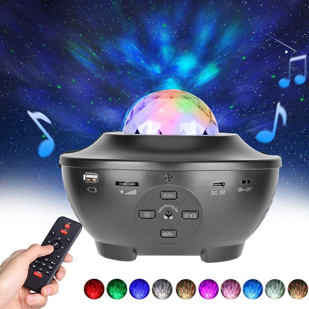 Led Laser Projector Licht Usb Bluetooth Muziekspeler Afstandsbediening Projectielamp Sterrenhemel Water Zwaaien Full Color Projector