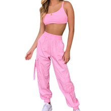 Neon Tracksuit for Women Casual Pink Two Piece Set Bandage High Waist Crop Tops and Long Pants Fitness  Sweatsuit Sexy Clothes
