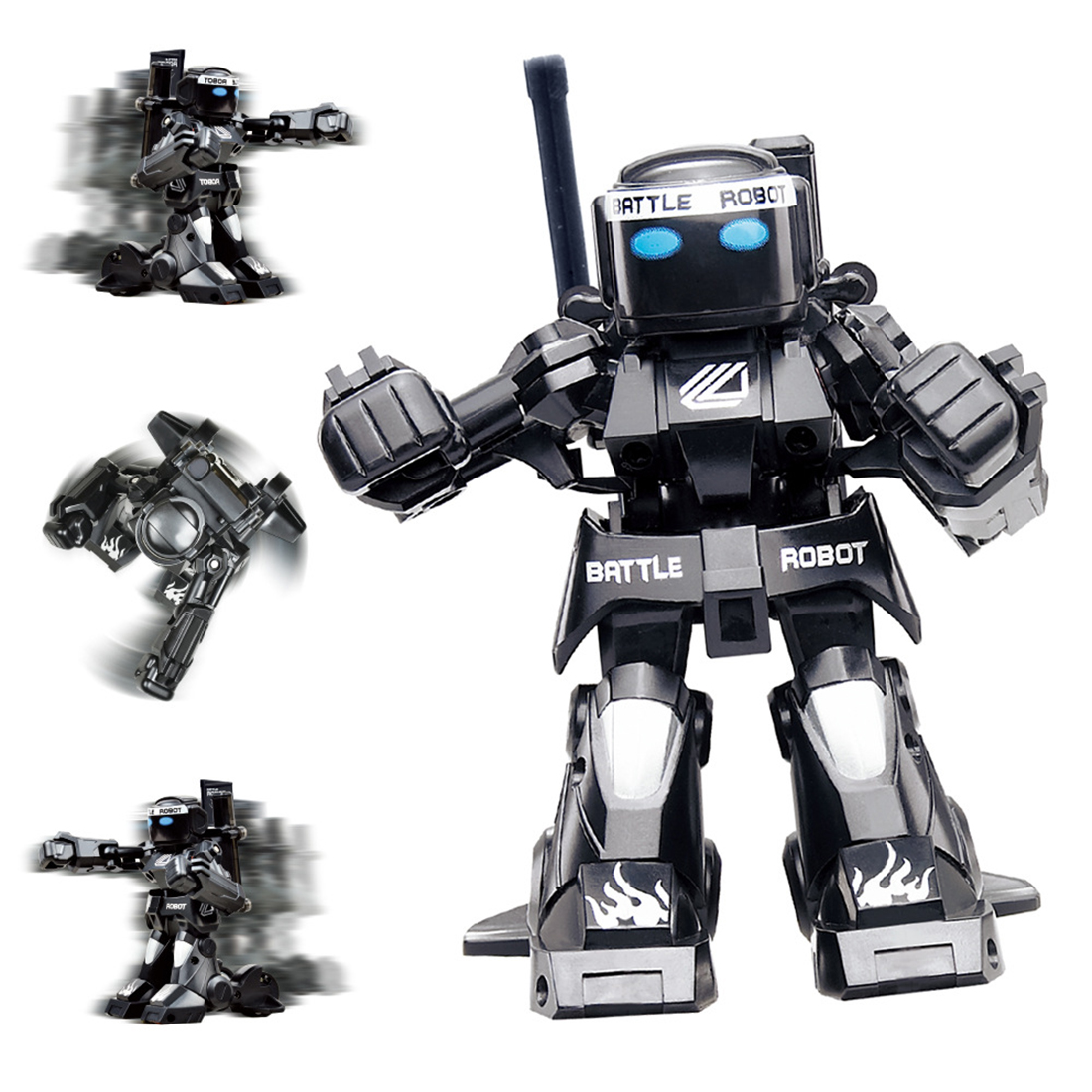 New 2.4G Remote Sensing Battle Robot RC Fighting Boxing Robot Toy Gift For Boys - Black/White