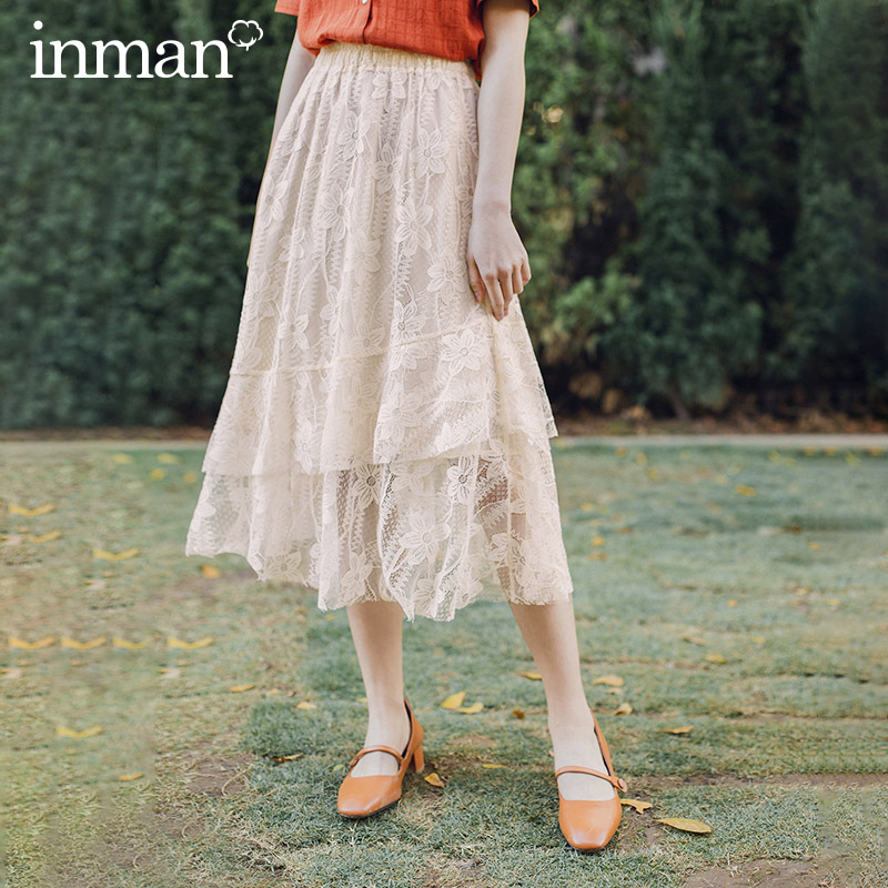 INMAN Vintage Artsy 2020 Summer New Arrival Mid Length Elegant Lady Lace Skirt