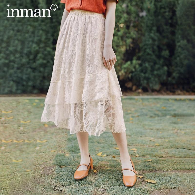 INMAN Vintage Artsy 2020 Summer New Arrival Mid Length Elegant Lady Lace Skirt