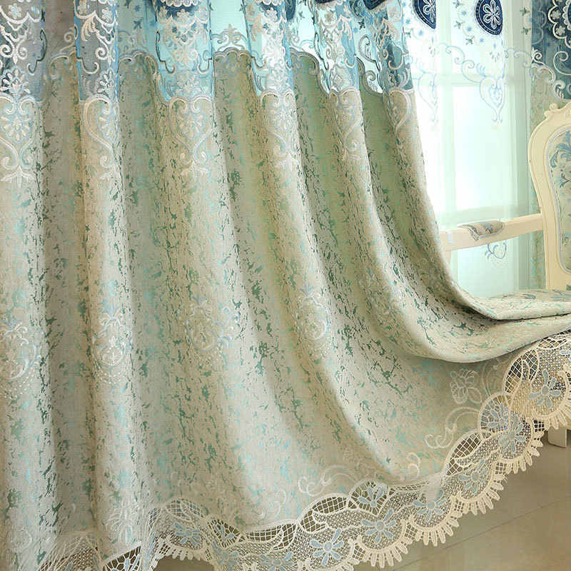 New Luxury European-Style Embroidered Blackout Curtain for Living Room Bedroom Chenille Hollow Fabric Blue Tulle Curtains M111-4