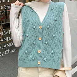 Japan Knit Vest Sweater Winter Button-down Cardigan For Woman Knitting Sleeveless Jumper Pullover Women's Toppies