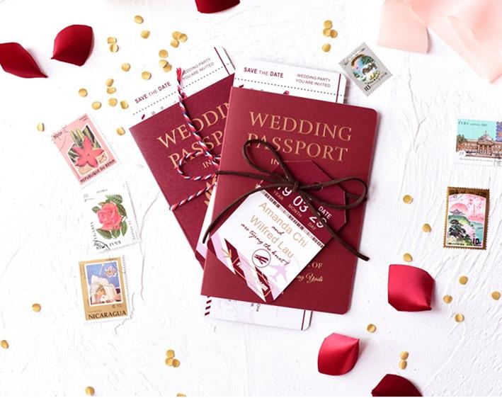 Высокое качество, 50 шт./лот, приглашения на свадьбу, паспорта и билетов, приглашения на заказ