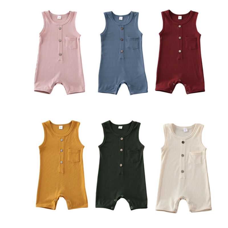 2020 Summer Newborn Infant Baby Girl Boy Ribbed Knitted Romper Sleeveless One-Pieces Solid Jumpsuit Outfits Baby Sunsuit 6 Color