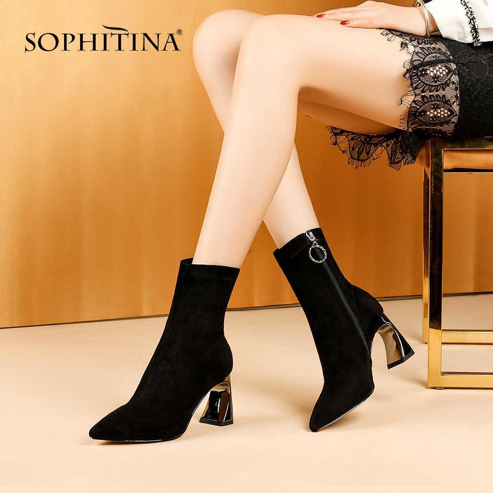 SOPHITINA Casual bayanlar yarım çizmeler temel el yapımı fermuar yüksek topuk ayakkabı seksi sivri burun katı garip tarzı kadın botları MO275