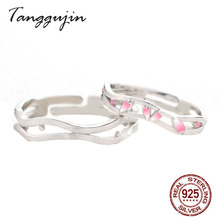 Ring Silver 925 Sterling Silver Jewelry Men Pink Enamel Rings Forever Love Couple Rings For Lovers Women Adjustable Ring