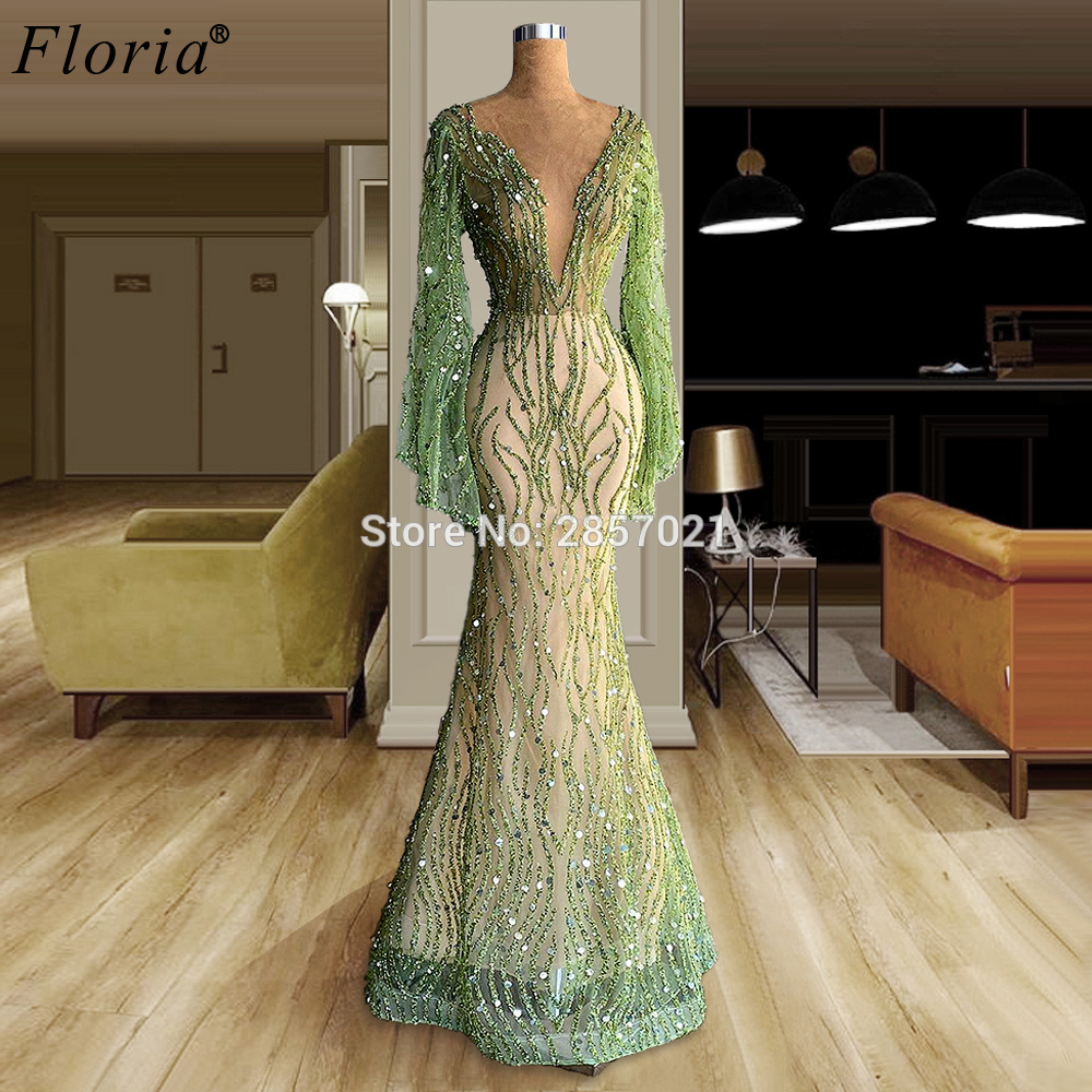 Middle East Green Evening Dresses Long Beads Evening Gowns Arabic Prom Dresses Evening Wear Sexy Women Party Gown Robe De Soiree