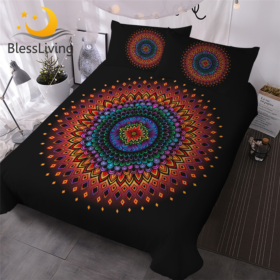 Blessliving Floral Mandala Bedding Set Colorful Bed Duvet Cover 3pcs Bohemian Comforter Cover Boho Flower Black Parure De Lit Bedding Sets Aliexpress