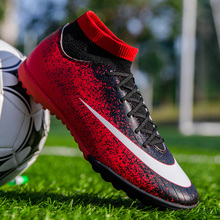 Mens Football Shoes Breathable Boys Girls Soccer Trainers Cleats Outdoor High top Ankle Socks TF/FG Football Boots Unisex
