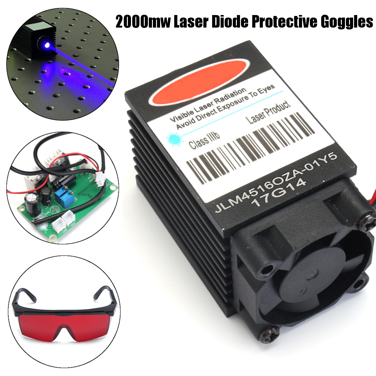 2W High Power 445NM Focusing Blue Laser Module Laser Engraving And Cutting TTL Module 2000mw Laser Tube+ 405NM Goggles