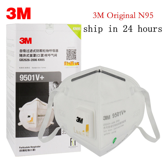 3M 9501V+ Masks 1-50pcs PM2.5 KN95 9501V+ Updated Particulate Respirator Dust Mask with Cool Flow Valve Breathable Mask N95 1