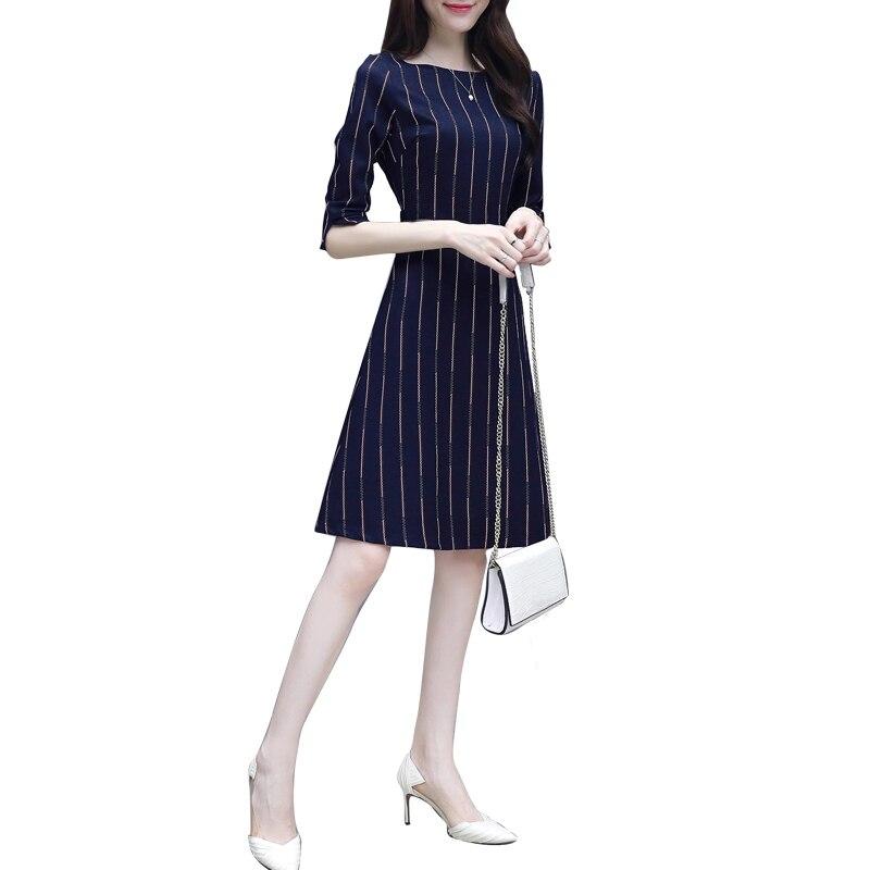 Women Elegant Patchwork Round Neck Female Vestidos Business Party Flare A-Line Retro Dress