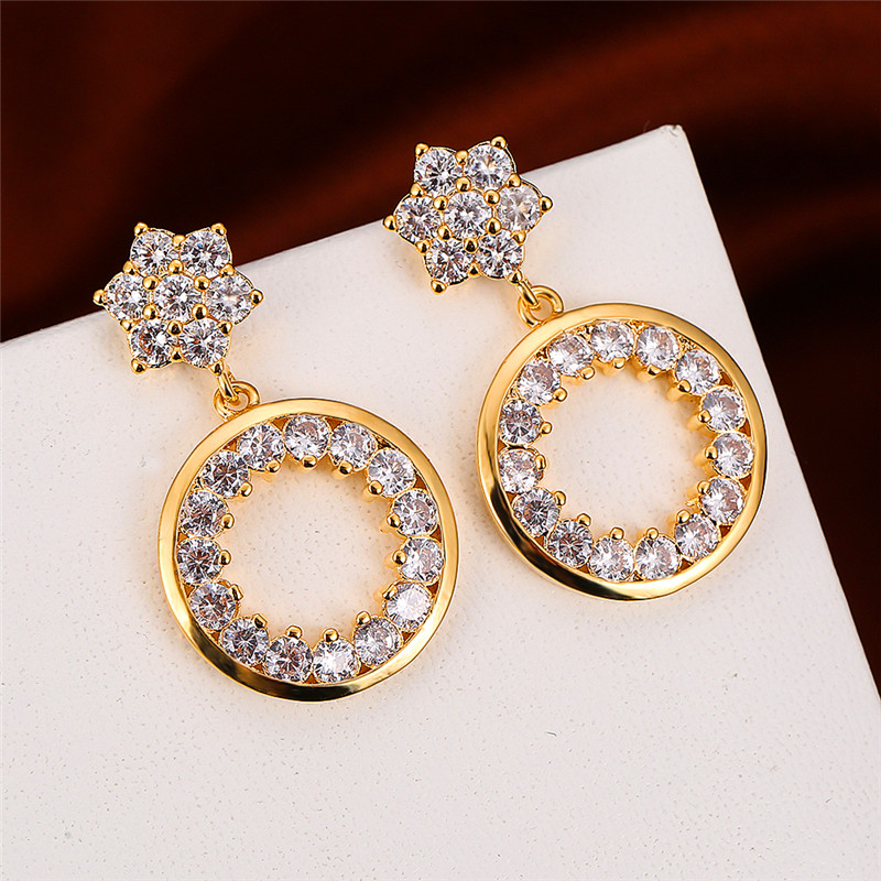 Classic Female White Crystal Drop Earrings Cute Rose Gold Color Dangle Earrings Dainty Round Hollow Wedding Earrings For Women