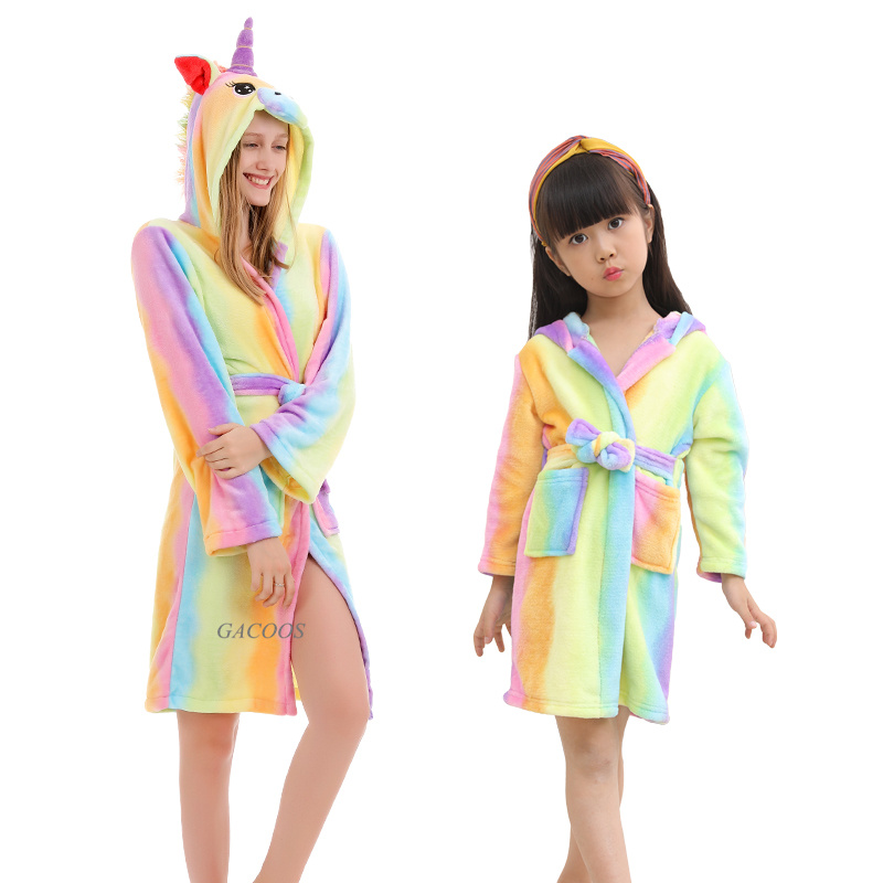 Кигуруми детский банный халат детский банный Халат банный халат с капюшоном и изображением животных радуги единорога для мальчиков и девоч...
