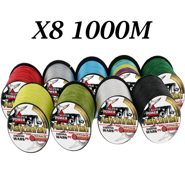 Super pe 500M 1000M braided wire 8Strands strong smooth 8-300LBS test  toughness  durable fishing braid 0.12-1.0mm thread weaves