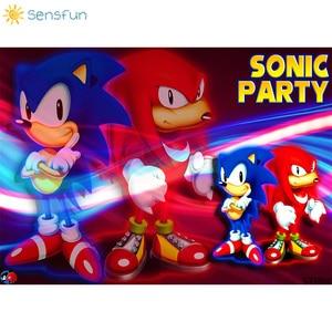 Image 2 - Sensfun Sonic Party Backdrop Cartoon Vinyl Photography Backgrounds Boy Birthday Party Backdrops Banner Poster Cake Table Decors