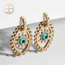 2020 New Fashion Gold Color Eye Shaped Short Drop Earrings For Women Ladies Chic Gold Stone Filled Evil Eye Gold Earring(China)