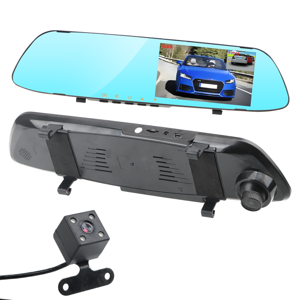 Dual Channel Rearview Mirror Recorder Driving Recorder Video Car DVR Dash Camera IPS Screen Night Vision Double Lens