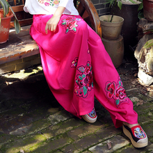 Ethnic Style Women Floral Embroidery Pants Vintage Spring Autumn Casual Loose Elastic Waist Cotton Linen Trouser