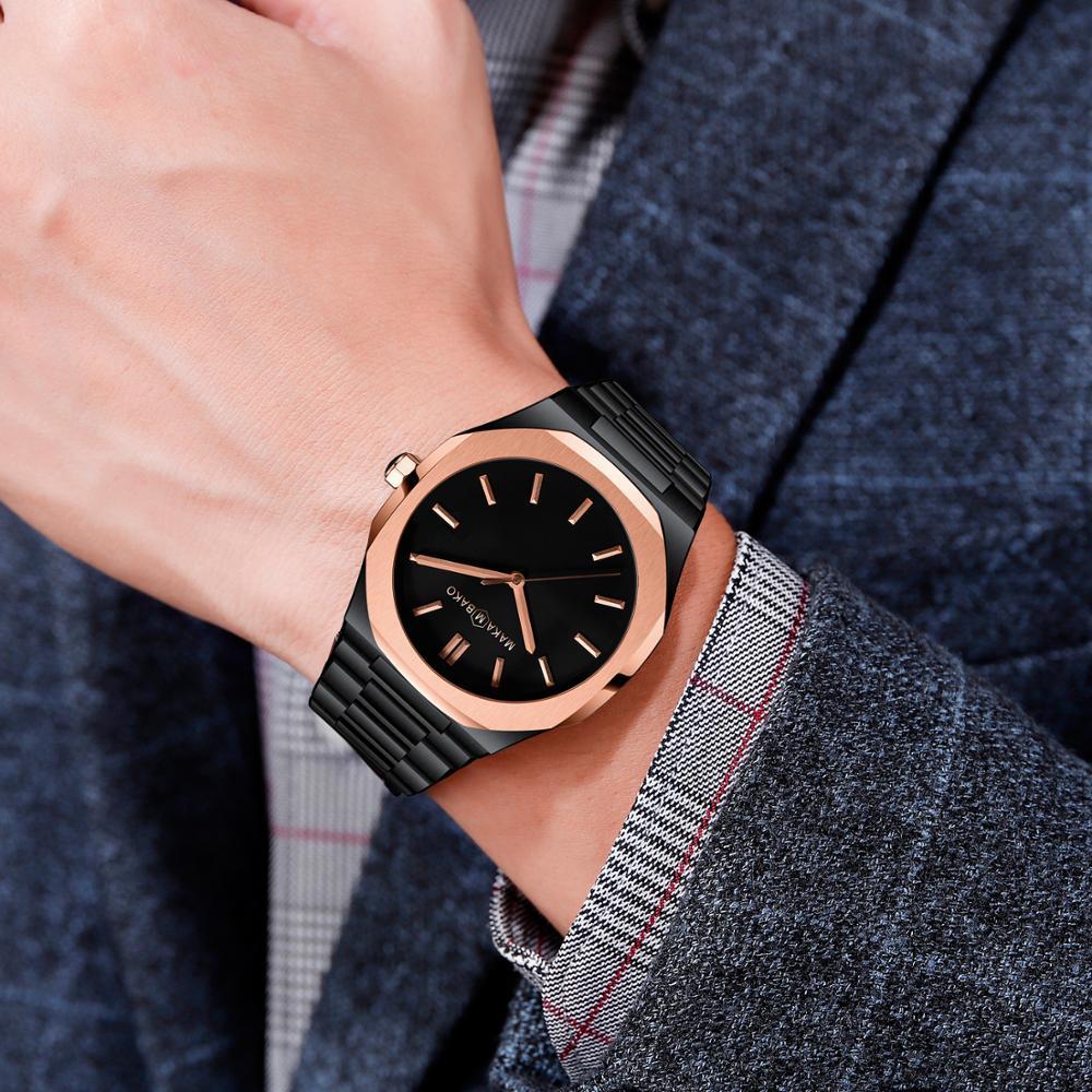 Ayhaus Square Men's Waterproof Sports Watch Mesh Business Simple Male Quartz Watch Clock Casual Watch Slim Japanese Movement