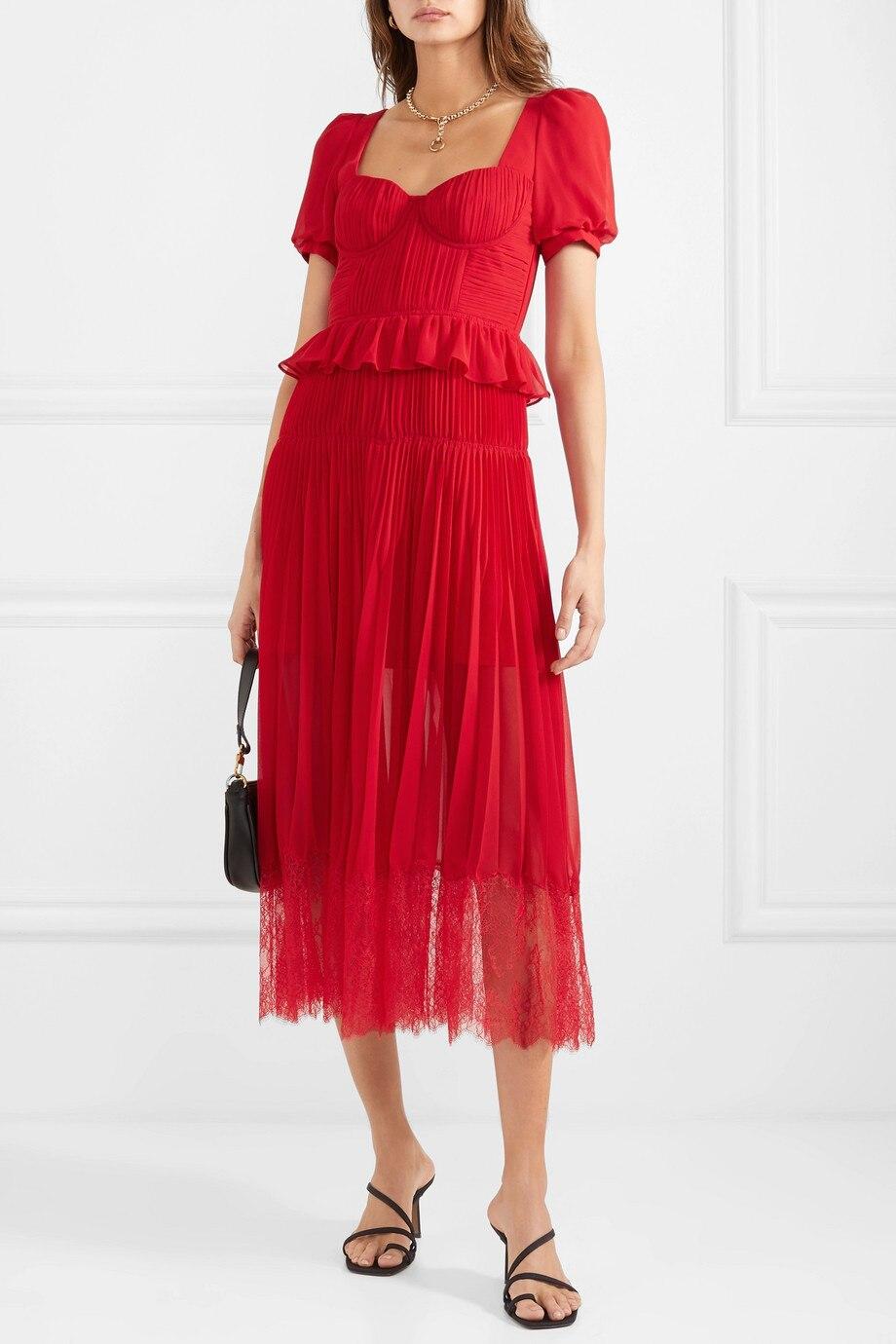 2019 nouvelle arrivée rouge à manches courtes en mousseline de soie robe