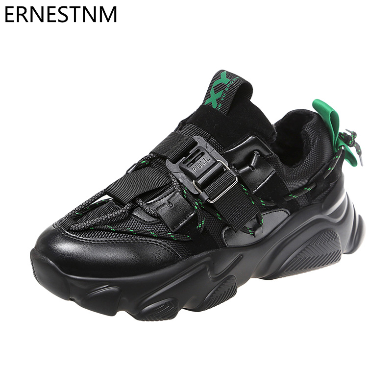 ERNESTNM Sneakers Women Plus Size Breathable Women Causal Shoes Platform 2020 Spring Autumn Fashion Thick Bottom Chunky Sneakers