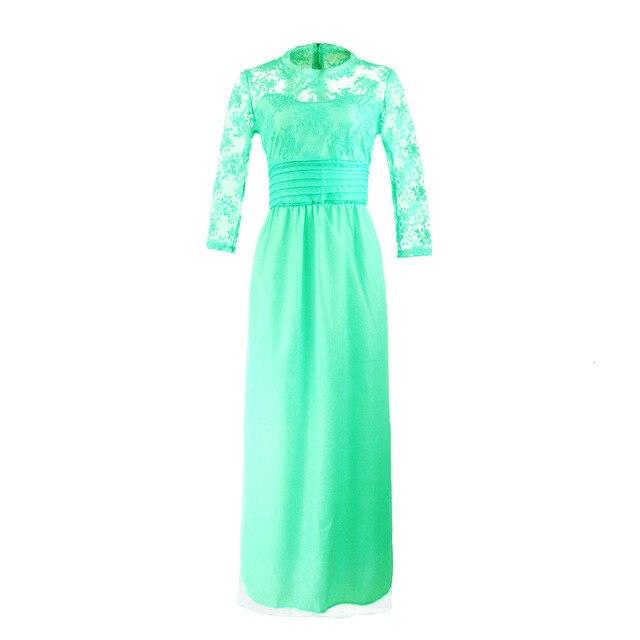 BacklakeGirls 2019 Autumn Elegant Round Neck Long Sleeve A-line Chiffon Evening Dress Green Red Lace Evening Gowns Feest Jurken 5