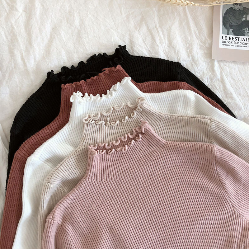 Turtleneck Sweater Women Sweaters 2019 Autumn Winter Sweater Women Slim Knitted Pullover High Elastic White Tops Ruffled Sweater