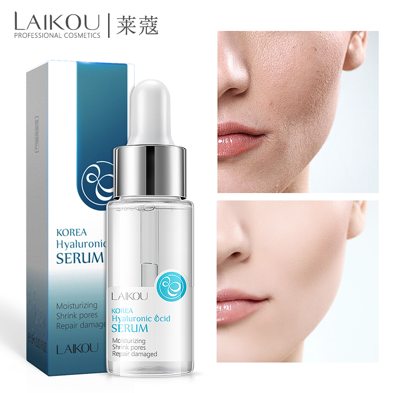 LAIKOU Face Serum Hyaluronic Acid Moisturizing Facial Essence Liquid Shrink Pores Whitening Brightening Tighten Face Skin Care