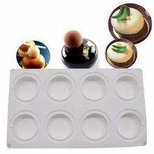 Molde de bolo de silicone-3d bakeware artesanal diy molde, 8 furos forma redonda, branco