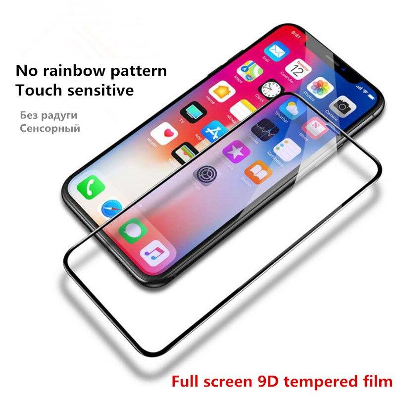 Novo 9d curvado cobertura completa vidro temperado no para o iphone x xr xs max protetor de tela para iphone 8 7 6s mais película de proteção.