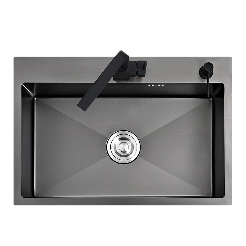 Кухонная настольная мойка, черная раковина для мытья овощей, встраиваемая бесшовная, из нержавеющей стали