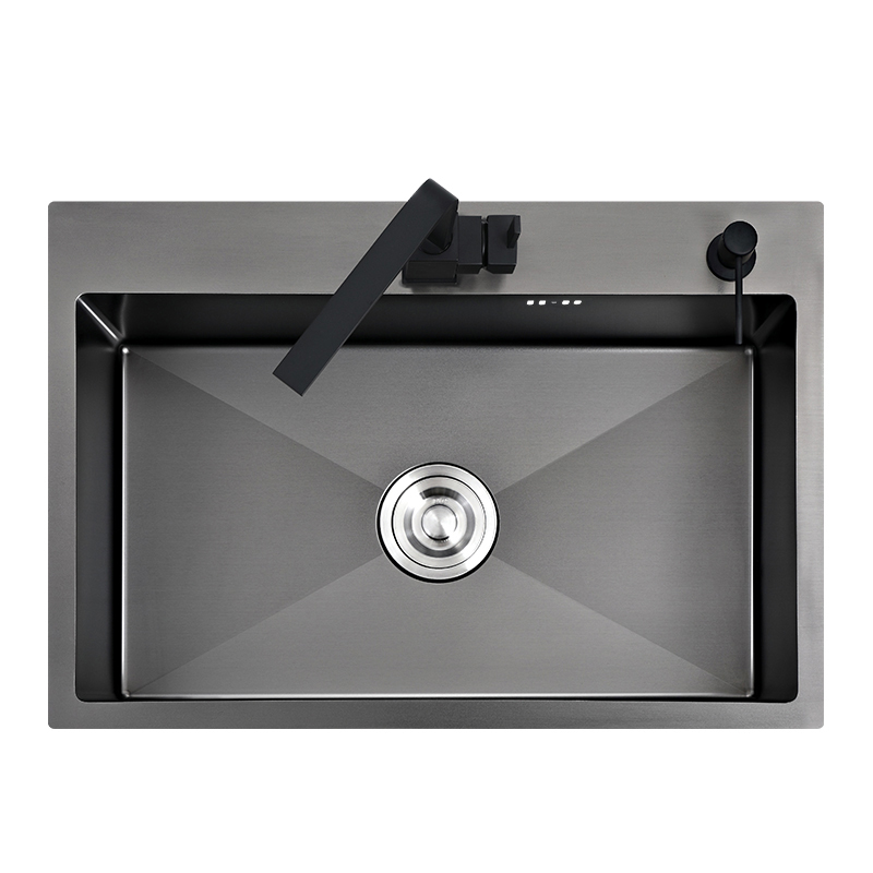 Black kitchen sink above counter or udermount vegetable washing basin sink  kitchen black stainless steel seamless welding pia