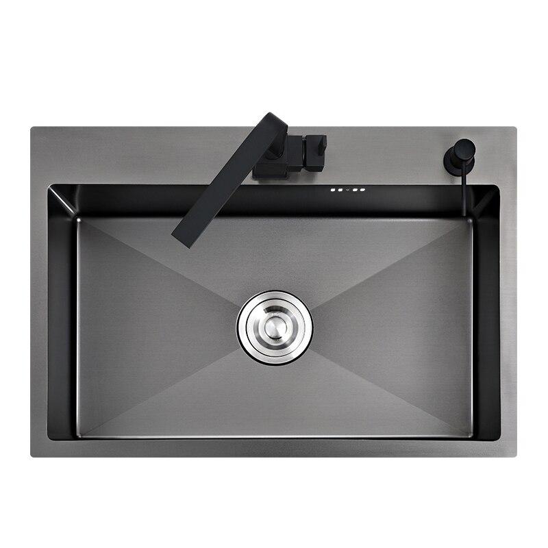 Preto pia da cozinha acima do contador ou udermount vegetais pia da bacia de lavagem pia cozinha aço inoxidável preto sem emenda pia