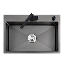 Schwarz küche sink über zähler oder udermount gemüse waschbecken waschbecken küche schwarz edelstahl nahtlose schweißen pia