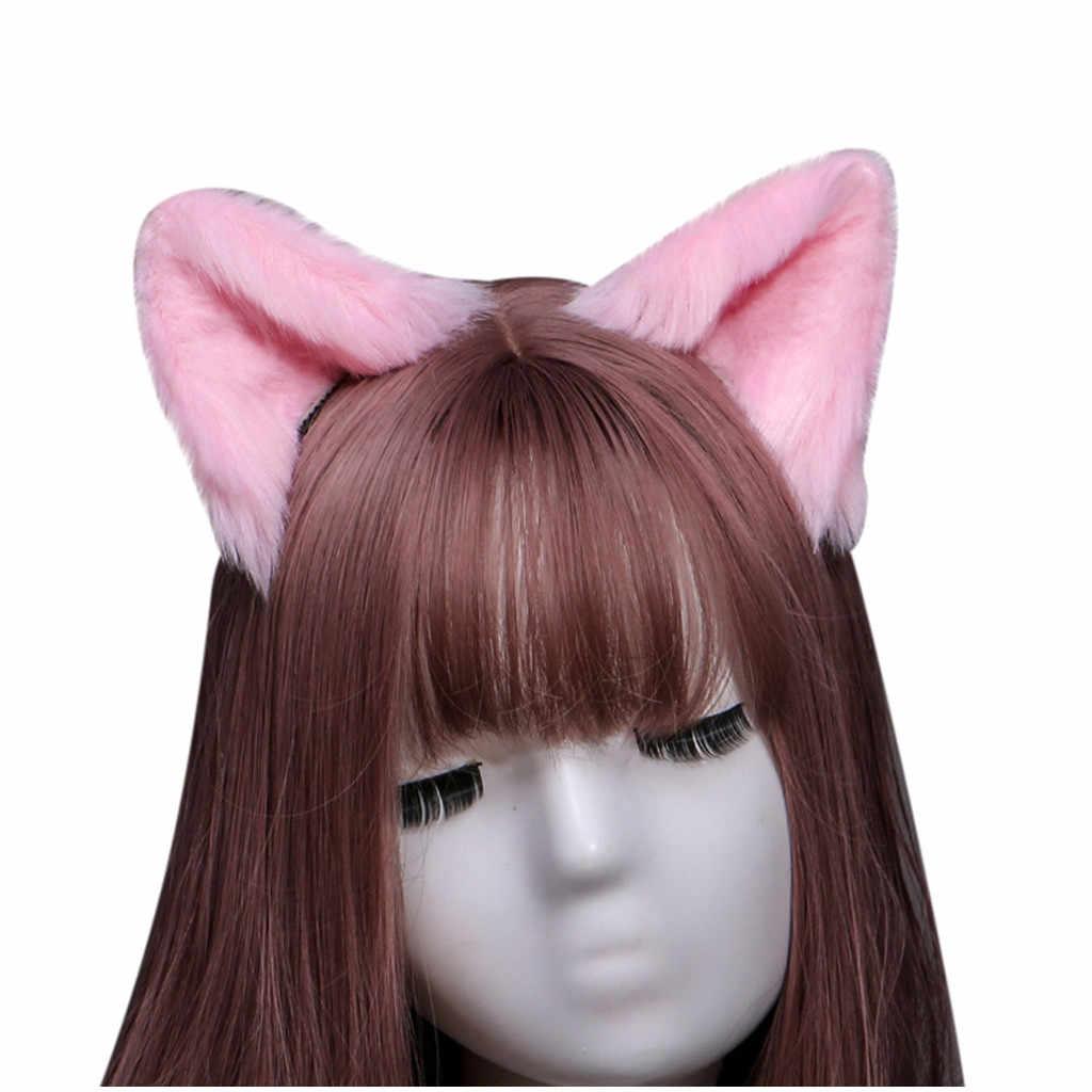 حفلة كوس محاكاة 8 اللون يدوية الحيوان الأذن القط قرط كبس تأثيري أفخم لطيف الأذن القط آذان الفراء طويلة Neko جميل زي