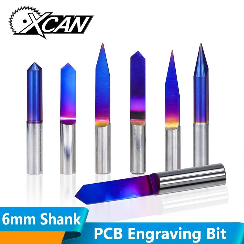 XCAN 10pcs 6mm Shank V Shape PCB Carving Bit Tungsten Carbide 3D Milling Cutter Router Bit Engraving Bit 20/25/30/60/90 Degrees