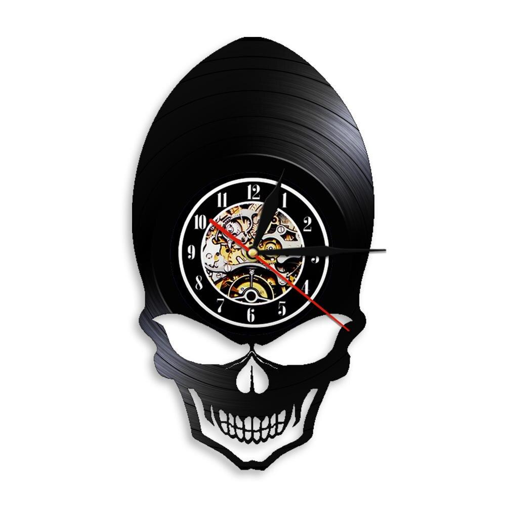 Evil Demon Alien Skull Head Clock Watch Goth Scary Wide Cheekbones Eyes Skeleton Vinyl Record Wall Clock Halloween Wall Decor