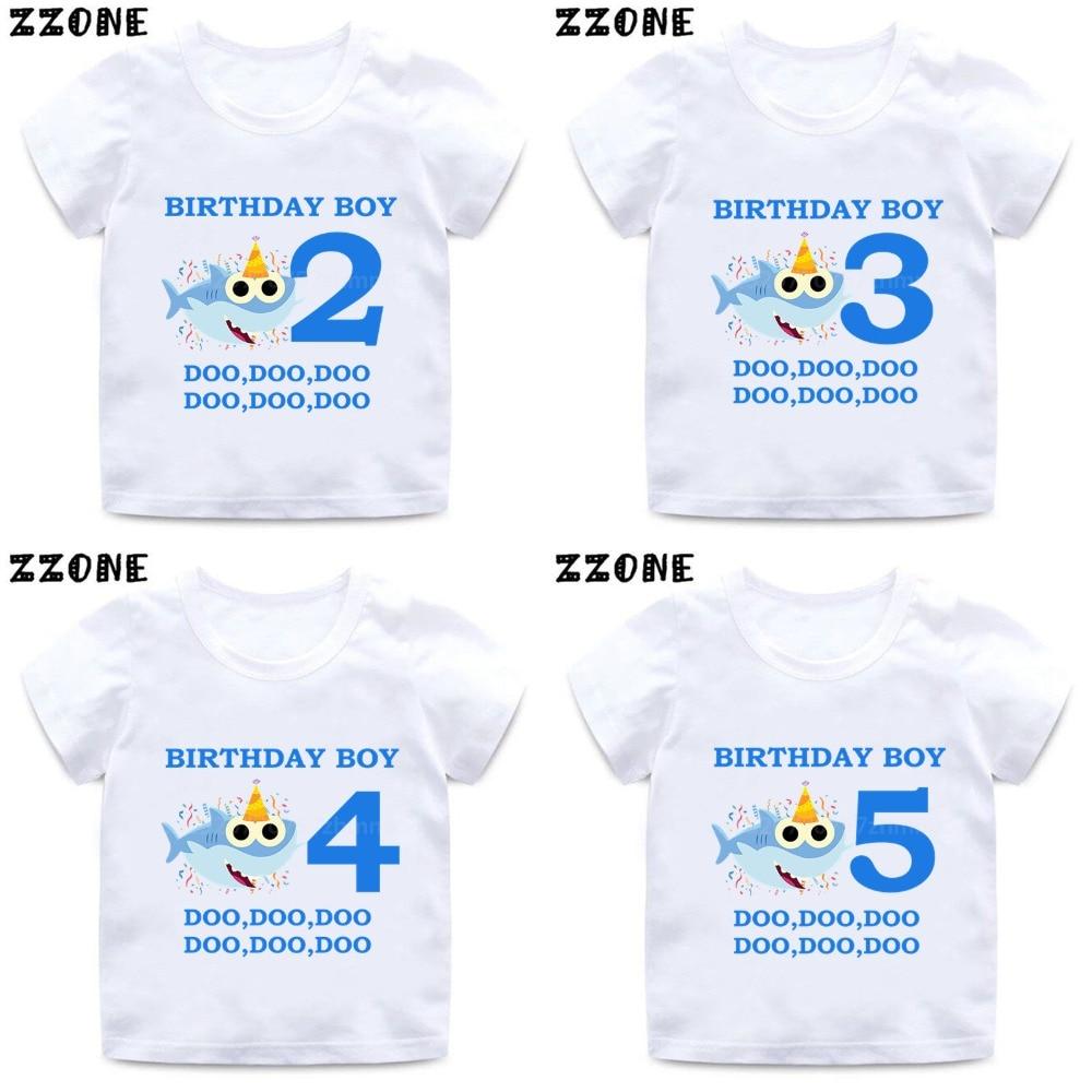 Shark 1-9 Number Print Cartoon Funny T shirt Kids Happy Birthday Present T-shirt Boys Girls Summer Clothes,HKP2441